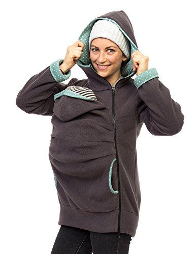 Viva la Mama Umstandsmode Fleecetragejacke Jacke Mama Baby tragen Jacke mit Einsatz warm Tragehoodie Kapuzenpullover - AHOI grau Mint Punkte - L