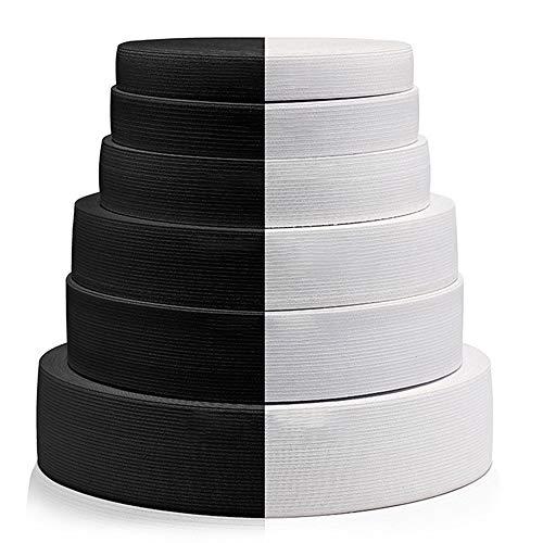 YFYH Banda elástica de Punto Blanco yNegro,1,5 cm-6,5 cm de Ancho, Material de látex Utilizado para Ropa, Calzado, Textiles para el hogar, 5 Yardas