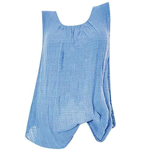 Bluelucon dames top, zomer tanktop casual kort bovendeel elegant mouwloos t-shirt basic blouse tanktop grote maten