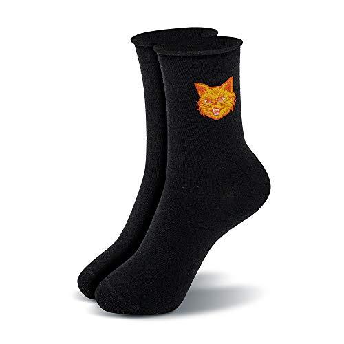 Mofreso Kurze Damen Socken mit Rollrand, schwarz mit edler Stickerei - Kater - Baumwolle, fair produziert - Robustes Material, Zehenbereich nahtfrei - 1 Paar - 39-42
