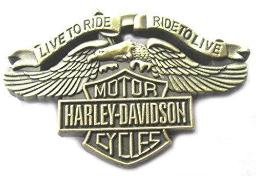 "Brosche/ Anstecknadel \""Harley Davidson - Live to Ride\"", Metallemaille, Antikmessingfinish"