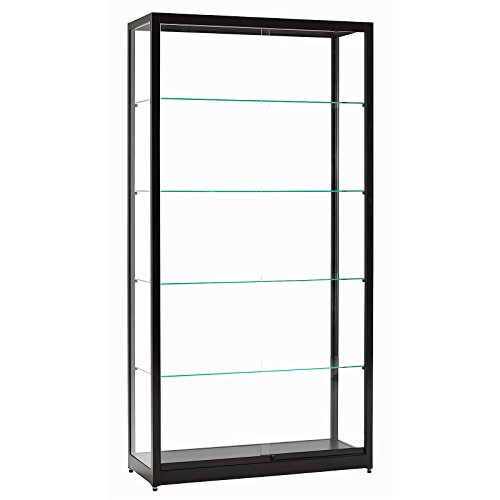 DELIGHT DISPLAYS Vitrine Glasvitrine Standvitrine Sammlervitrine Eco 1000 Alu Schwarz Glas abschließbar Schiebetüren