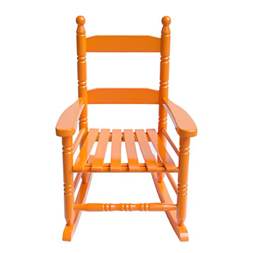 Caymus Classic Kid's Rocking Chair, Solid Wood,Orange