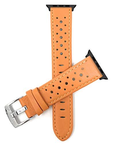 Correa de repuesto extra larga (XL) Bandini de piel para Apple Watch, compatible con Apple Watch Series 5, 4, 3, 2, 1 y iWatch – Ventilación Rally – Conector naranja/negro – 42 mm/44 mm