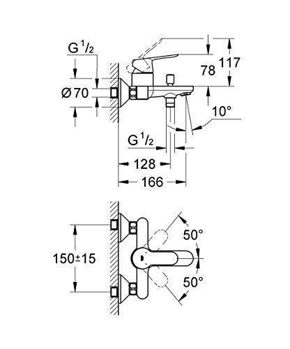 Grohe – Start Edge Wannenbatterie mit Einhebelmischer, Chrom - 5