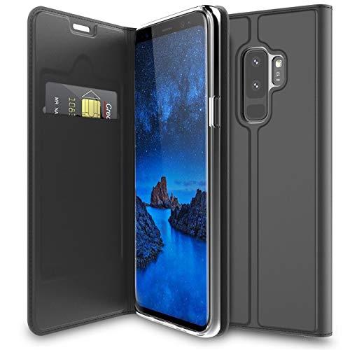 Verco Handyhülle für Galaxy S9 Plus, Premium Handy Flip Cover für Samsung Galaxy S9 Plus Hülle [integr. Magnet] Book Case PU Leder Tasche, Schwarz