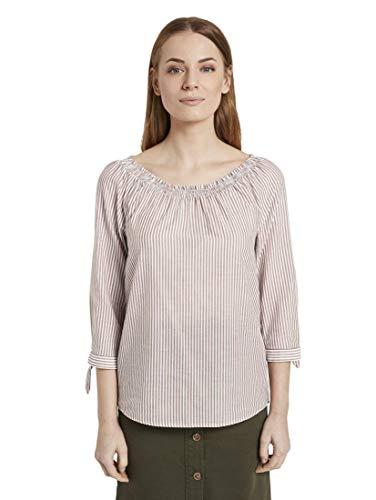 TOM TAILOR Damen Blusen, Shirts & Hemden Schulterfreie Carmen-Bluse mit Knotendetail Brown White Vertical Stripe,44,23350,8000
