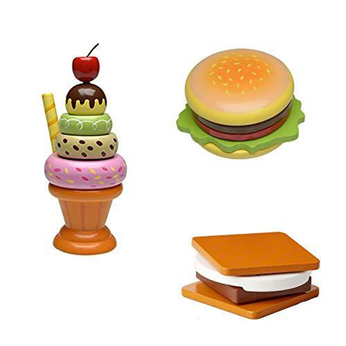The Original Toy Company Wooden Stacking Sundae, Smore's and Hamburger Set