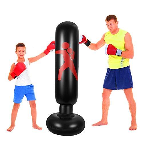 "FOYOCER Saco de Boxeo Hinchable de Niños Saco de Arena Inflable de Pie para Practicar Karate MMA Bolsa de Boxeo Fitness para Nniños 61""(Bomba de Aire & Pegatinas de Reparación Incluidas) (Negro)"