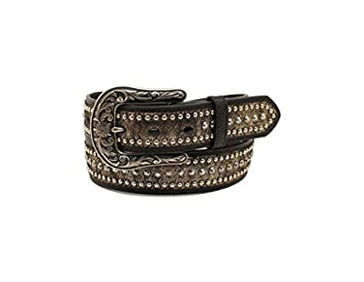 "Ariat Women's Metallic Rhinestones Buckle Belt Black XL (42"" Waist)"