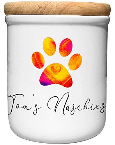 Cadouri Keramik Leckerli-Dose NASCHIES » personalisiert mit Name deines Hundes «┊Snackdose Keksdose Aufbewahrungsdose┊mit Holzdeckel