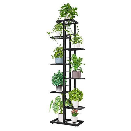ZZBIQS Blumenständer Metall mit 8 Ebenen, 141cm Blumentreppe Modern Pflanzentreppe für innen und außen Garten Balkon, Blumenregal Mehrstöckig (Dunkelgrau)