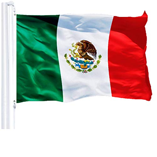 G128 – Mexico (Mexican) Flag | 3x5 feet | Printed 150D – Indoor/Outdoor, Vibrant Colors, Brass Grommets, Quality Polyester, Much Thicker More Durable Than 100D 75D Polyester