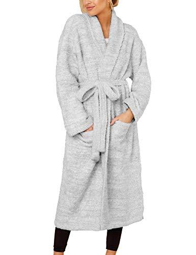 FANCYINN Damen Lange Robe Fleece Robe Shaggy Bademantel...