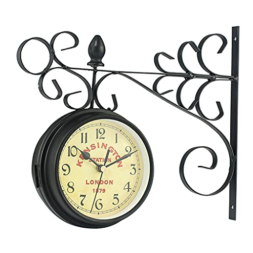 Generic Diseño de arte Vintage Reloj de pared de doble cara Metal estación de tren estilo reloj redondo soportes de pared montaje...