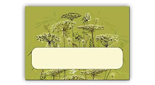 50x Gräser Etikett 37 x 52 mm, Kosmetex Aufkleber für Flaschen, Dosen, Beschriftung für Kosmetik, Parfüm, Aroma, Öl, 50x 37x52mm