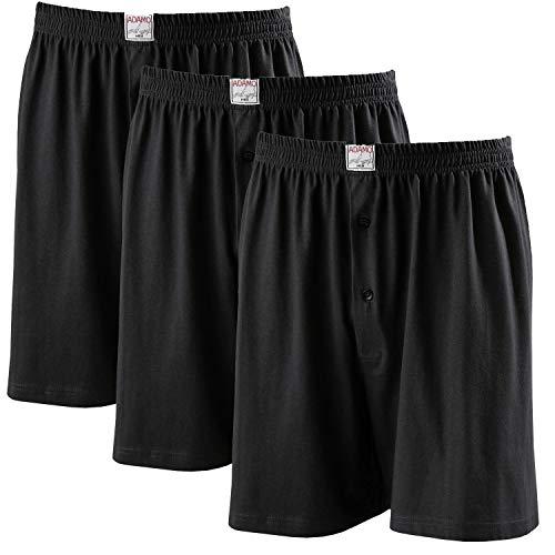 ADAMO Boxershorts James | Herren Boxershorts I Männer Shorts | Boxershorts Men | Shorts Herren I Herrenunterwäsche I 100% Baumwolle 3er Pack in Übergrößen 8-20 / XXL-8XL, Größe:3XL, Farbe:700 Schwarz