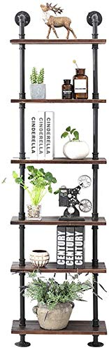 5/6 Tiers Ladder Shelf Boekenkast | Metalen Houten Wandrek | Wandgemonteerde planken Vintage IJzeren Boekenplank | Industriële Wandvitrine