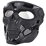 IDEKO Airsoft Skull Mask, Skull Full Face Protective Masks Tactical Mask for Airsoft CS Wargame Halloween Cosplay Party