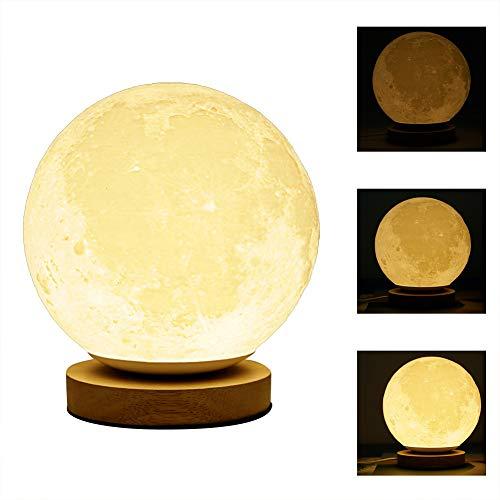 Nachttischlampe Tischlampe LED Dimmbar 18cm Mondlampe Nachtlicht für Schlafzimmer/kinderzimmer, 3D Mond Kunst nachtisch lampen Warmweißes Kind Nachtlicht