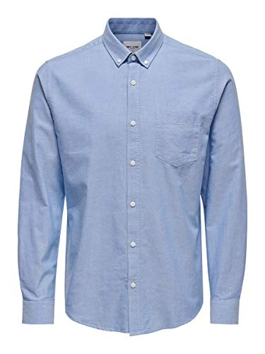 ONLY & SONS Male Langarmhemd Einfarbiges XXLCashmere Blue