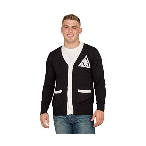 Revenge of the Nerds Tri Lambda Black with White Mens Costume Cardigan Sweater