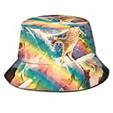 LOUIS ROBSON Unisex Breathable Bucket Hat Unicorn Rainbow Cat Summer Fisherman Cap Wide Brim Uv Protection for Women Men Boys Girls