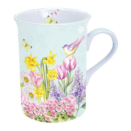Porzellan Becher Mug Tee/Kaffee Becher Blooming Garden Turqu