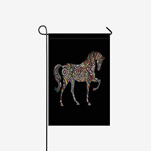 Huis Decoratieve Vlaggen, Home Yard Decor Vlag,Seizoensgebonden Tuin Vlag Banner, Thuis Paard Silhouette Mandala Bloem Ornament Outdoor Vlaggen Voor Verjaardag, Bruiloft, Feest