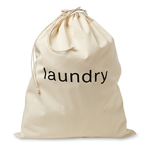 FABBPRO Cotton Canvas Cloth Fabric Laundry Bag - Stylish Portable Natural Biodegradable Drawstring Bag - Ideal for Hotels Airbnbs Rental Spaces Vacation Homes Even Travel