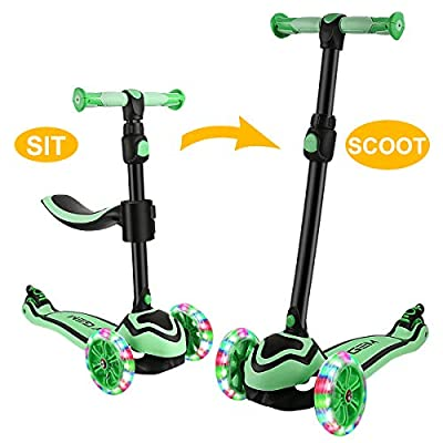 JOYGEM 2-in-1 Kids Scooter with Removable Seat, Deluxe 3 Wheel Todder Kick Scooter with Led Flashing Wheels & Adjustable Handlebar for 2-12 Years Boys Girls