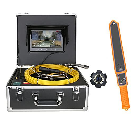 HBHYQ Cámara de Video de la inspección de tubería de alcantarillado de Monitor de 9 Pulgadas con Contador de Metros 512Hz Localizador de tubería 22mm IP68 HD 1000tvl cámara 12pcs LED Luces,40M