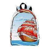 Mochila de viaje grande Mochila para portátil Barco de vela velas rojas bajo el agua Dophin World Mochila escolar Mochila ligera Mochila de vacaciones