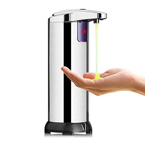 Seifenspender Automatisch, KIPIDA Infrarot Seifenspender Edelstahl Sensor Moderner Touchless Seifenspender mit Wasserdichter Basis für Bad,Küche und Büro Elektrischer Seifenspender 250ml Silber