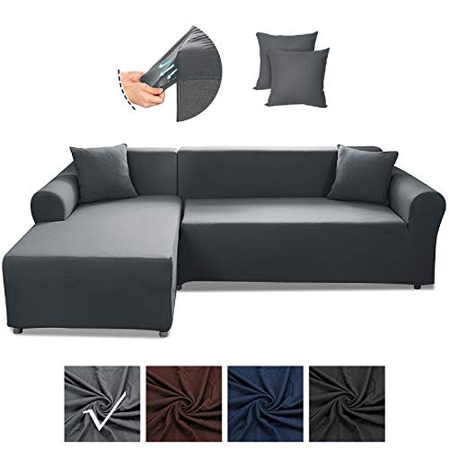 SAFETYON Sofa Slipcover, Sectional Couch Covers 2PCS, L-Shaped Sofa Cover Furniture Protector Cover with 2PCS Pillowcases, Elastic L-Type Stretch Sofa Covers 3 Seats +3 Seats, Grey