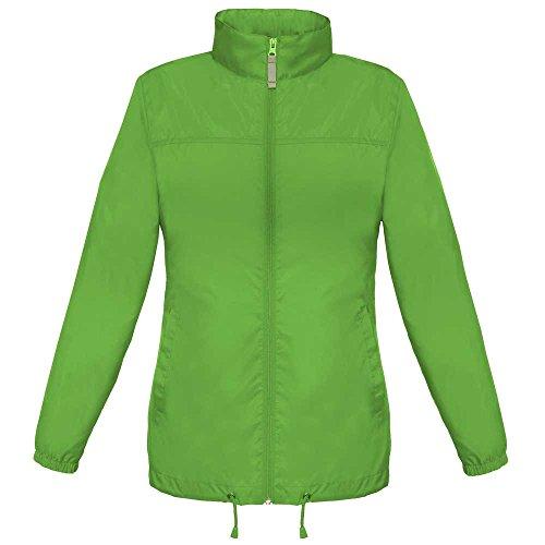 B&C & C Ladies Sirocco The Wind Breaker Showerproof Foldaway Coat, Real Green