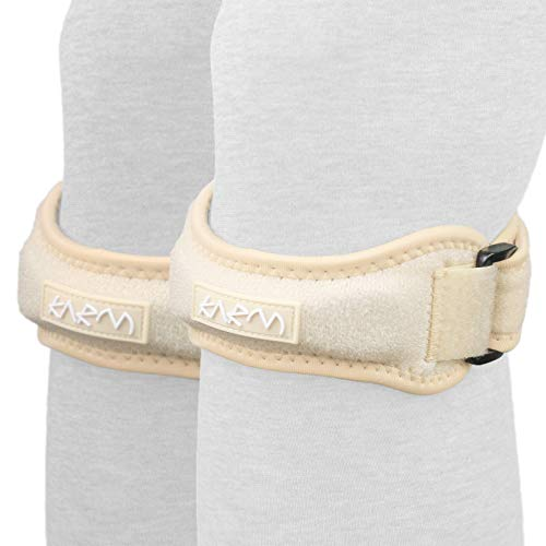 Pair of Patella Knee Strap Support Stabilizer & Jumpers Knee Band - Best Patella Tendon Strap for Osgood Schlatter, Running, Kids, Patellar Tendonitis, Meniscus Tear, Women, Men (Nude Regular Pair)