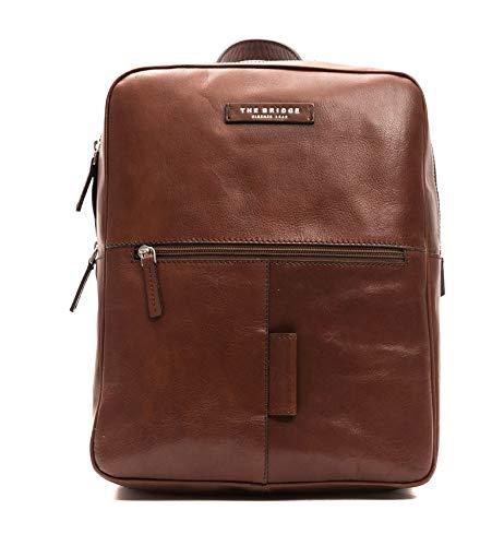 The Bridge Zaino Backpack large linea Passpartout Porta Pc fino a 15' pelle leather made in Italy man uomo 26X32X12 cm marrone brown 46423501