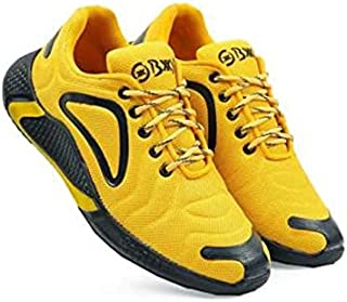 KT Traders Solid Reguler Mesh Lace-Up On Style for Easy Sport Shoes (KT Traders-65-Yellow-10)