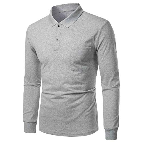 FULUN Men's Casual Henley T Shirt Polo Shirts Mens Long Sleeve Buttons Tops Dress Shirts Tees for Party Bussiness Formal Office Work Cotton Linen Slim Fit T-Shirt Sweatshirt Pullover Sportswear