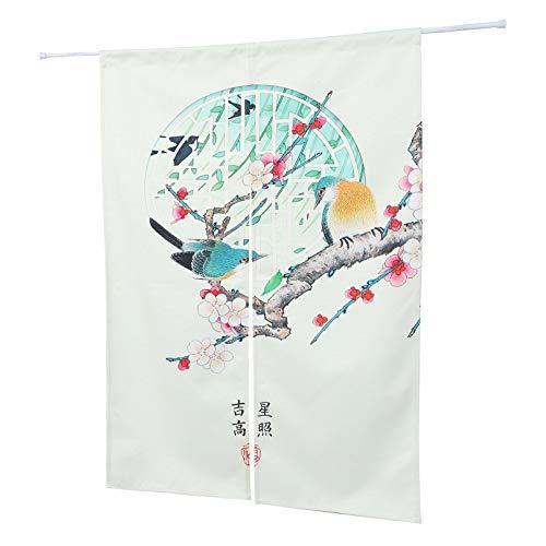 VOSAREA Chinesische Blumen Und Vögel Tür Vorhang Feng Shui Vorhang Japanische Noren Vorhang Tapisserie Trennwand Vorhang Vorhänge L