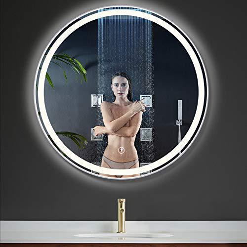 OOWOLF LED Espejo Baño con Luz, Espejo de Pared Baño Redondo 58x58cm Interruptor Táctil Atenuación Infinita, 25W, 400lm, 4000K, Diseño Moderno Ideal para Baño Dormitorio