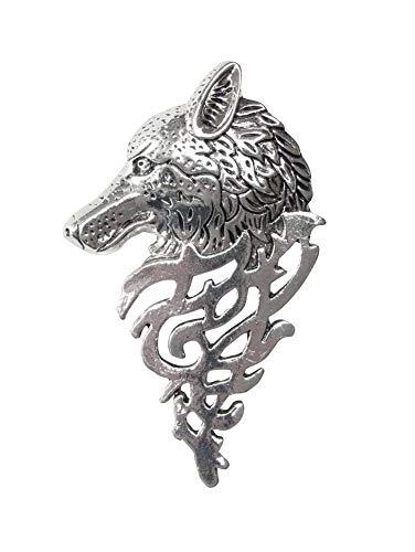 Broche de acero plateado con cabeza de lobo