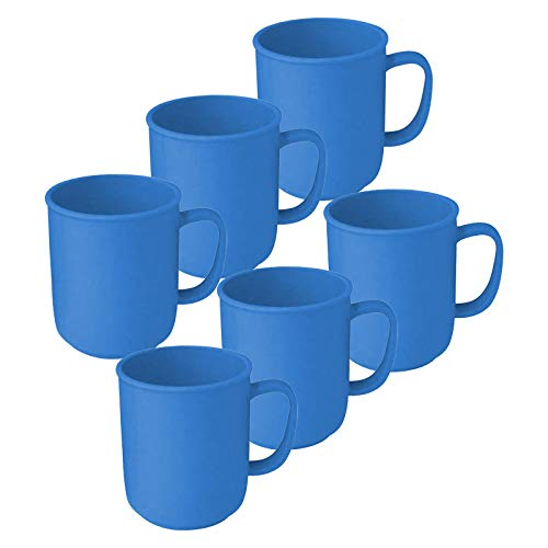 6 Tassen mit Henkel à 300 ml Blau aus Kunststoff in verschiedenen Farben Kaffeetasse Teetasse Becher Henkelbecher Henkeltasse