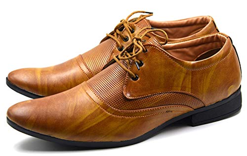 Skyish Brown Synthetic Leather Lace-Ups Formal Shoes (Size -9)