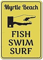 Hypothesis Fish Swim Surf Sign, Custom Pointing Hand Directional Decor ホームバスルームとカフェバーパブ、壁の装飾用の 20x30cm ティンサインポスター アメリカン サインプレート ブリキ看板