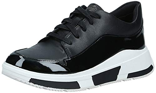 FitFlop Womens Freya Lace Up Sneaker Shoes, All Black, US 8.5