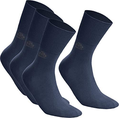 DeoMed 4paar Diabetiker-Socken COTTON Extra Weit Dünn Diabetikersocken für Damen und Herren ohne gummi (Marineblau, 43-46)