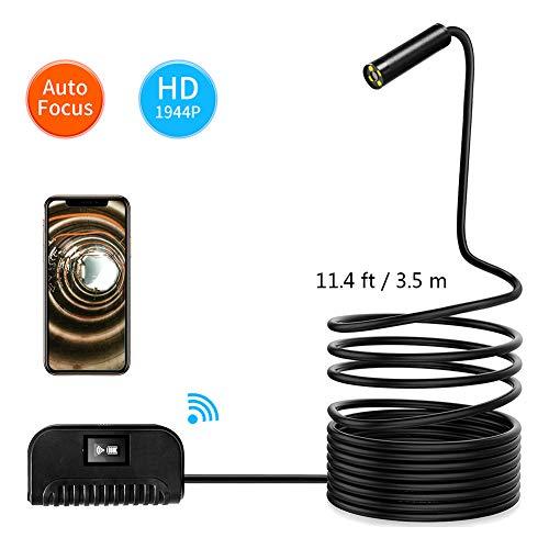 LJYNKJ Endoskop Kabelloses WiFi Endoskopkamera wasserdichte Inspektionskamera mit 2,0 Megapixel 1944P HD halbsteife Kabel Boreskope Schlange Kamera für Android und IOS Smartphone 3.5m(11.4 ft)
