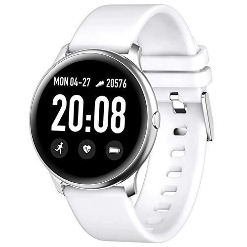 INDYGO KW19 - Reloj deportivo para hombre con pantalla TFT a color de 1,3 pulgadas, modo deportivo, monitor de frecuencia cardíaca 24 horas, color blanco